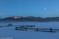 Moon, Mountains, Fence, Steamboat Springs, Colorado