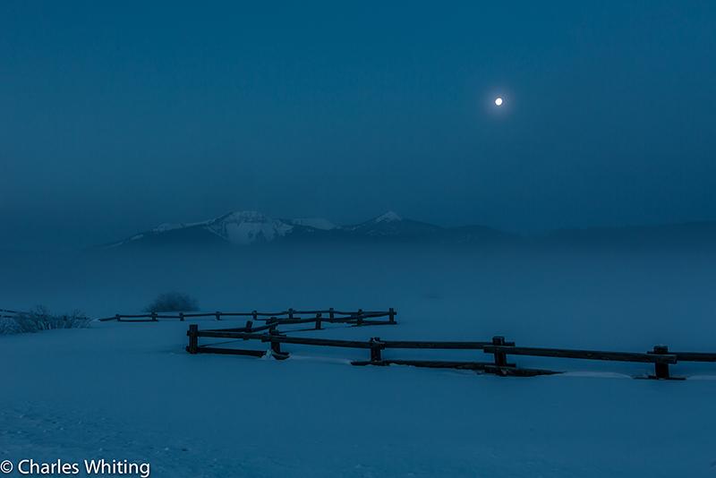 Moon, Mountains, Fence,, photo