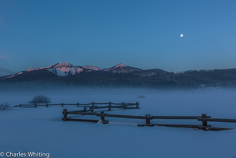 Moon, Mountains, Fence, Steamboat Springs, Colorado, photo