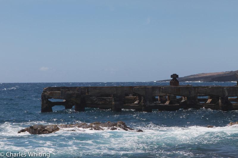 pier, surf, Kaalualu Bay, Big Island, Hawaii, photo
