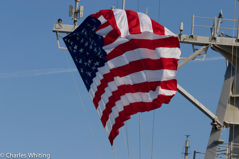 Battle Ensign, USS Nitze, guided missile destroyer, photo