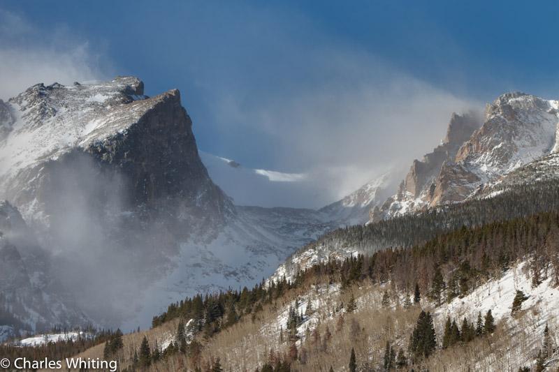 Hallett Peak, blowing snow, Rocky Mountain National Park, photo
