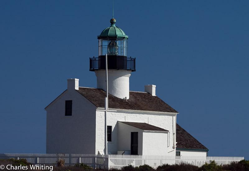 Cabrillo Lighthouse, lighthouse, white picket fence, blue sky , photo