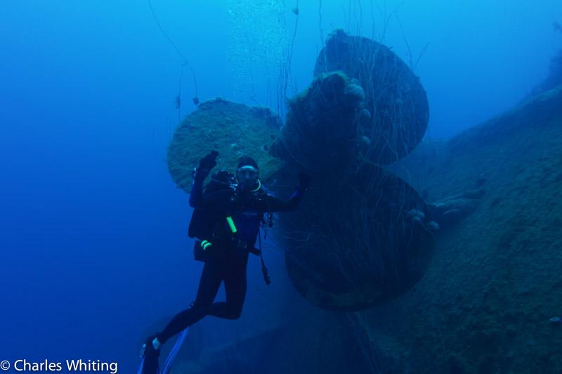 Diver, Battleship, Nagato, Bikini Atoll, Marshall Islands, Pacific Ocean, photo
