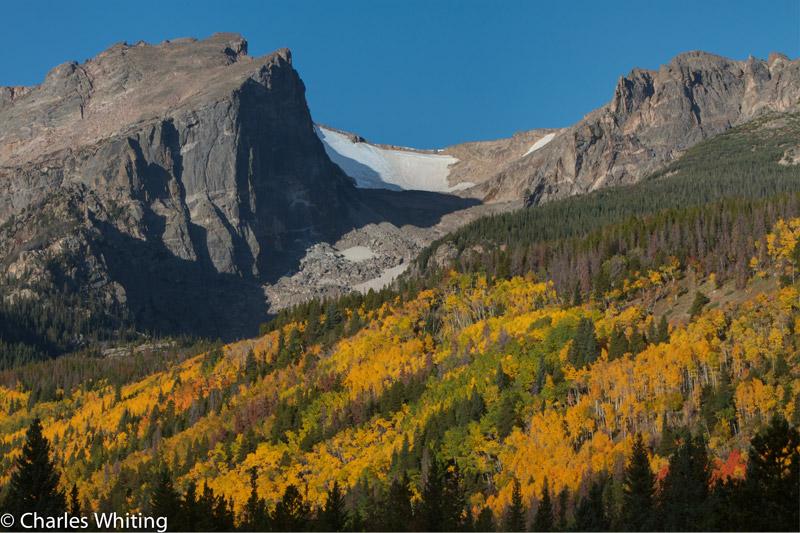 Hallett Peak, Aspen trees, Rocky Mountain National Park, photo