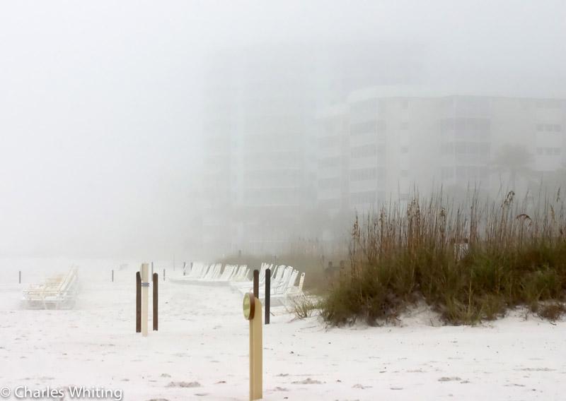 Morning fog, beach, Siesta Key beach, Sarasota, Florida, ghostly images, photo