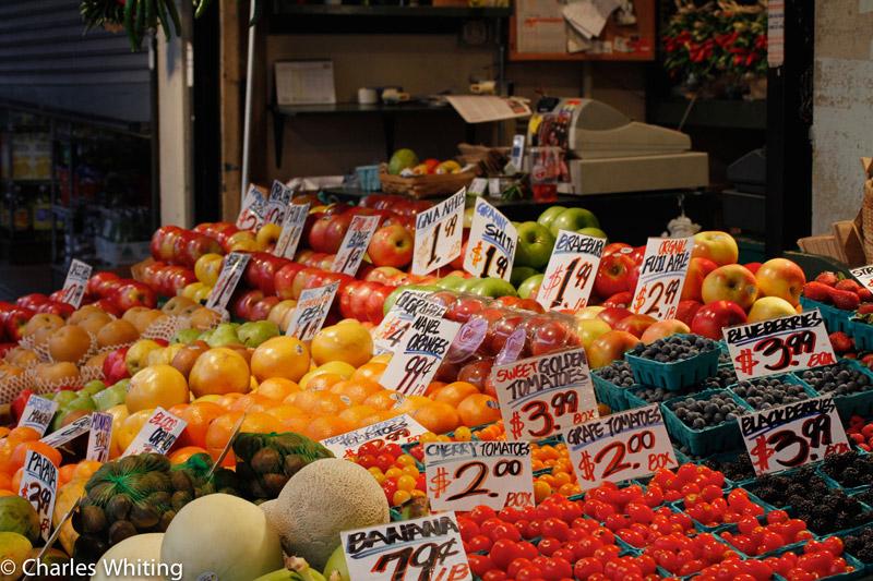 fruit and vegetable stand, Pile Place Market, Seattle, Washington, colorful, photo