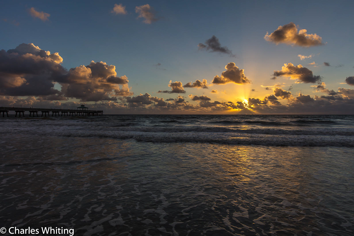 Sunrise, Deerfield Beach, Florida, Fishing Pier, Clouds, photo