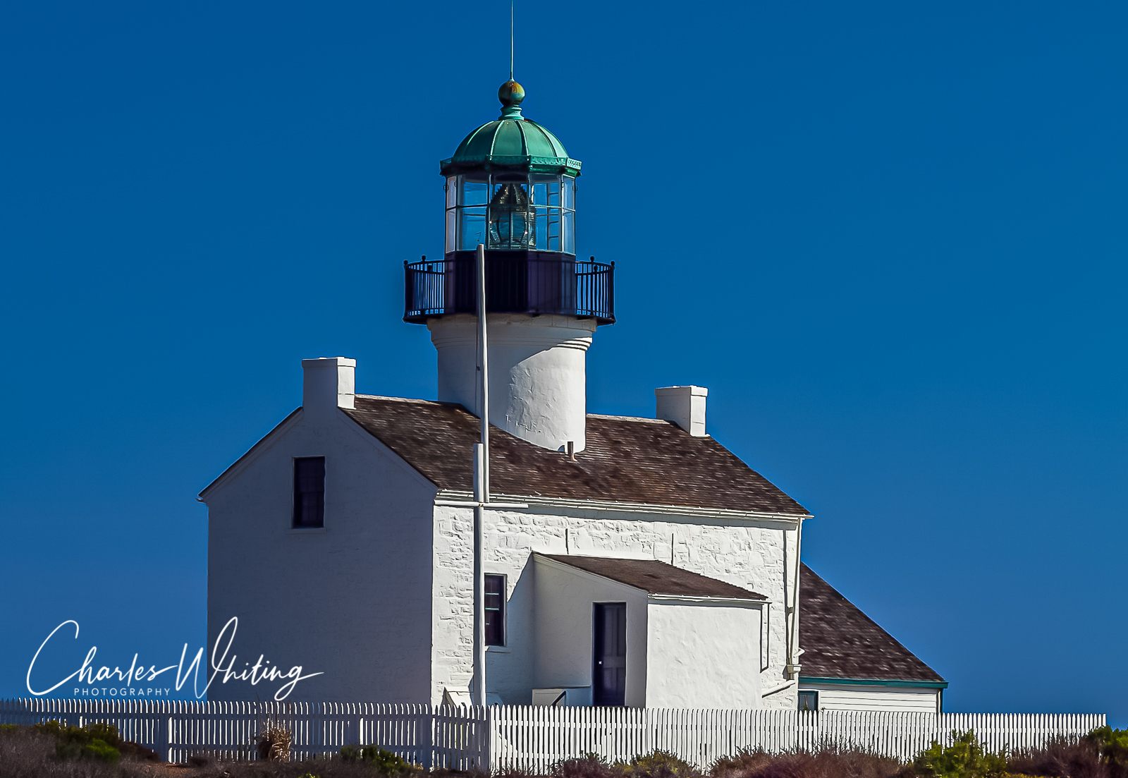 Cabrillo Lighthouse, lighthouse, white picket fence, blue sky , photo