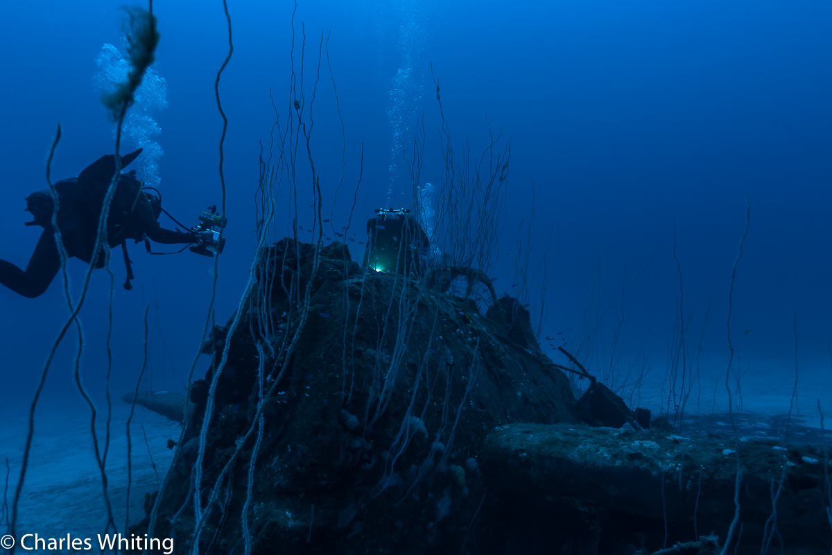Diver, Grumman F6F Hellcat, USS Saratoga, Bikini Atoll, Marshall Islands, photo