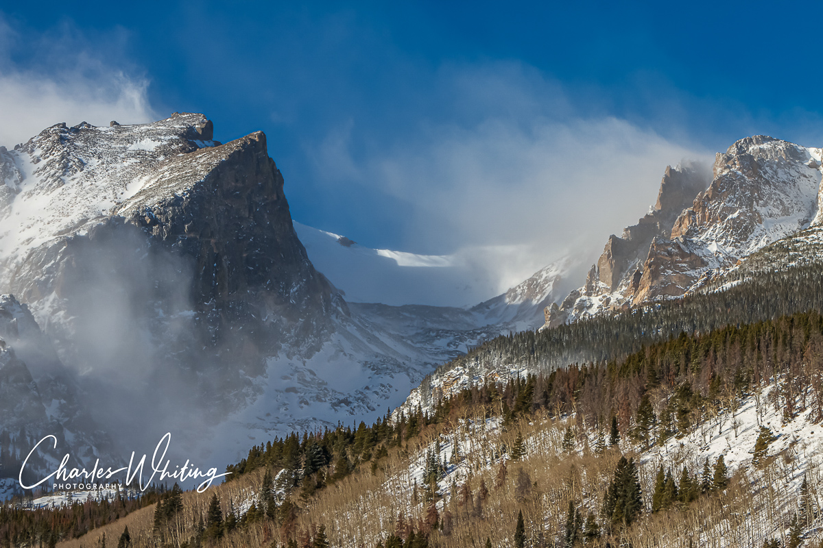 Hallett Peak, blowing snow, Rocky Mountain National Park, photo