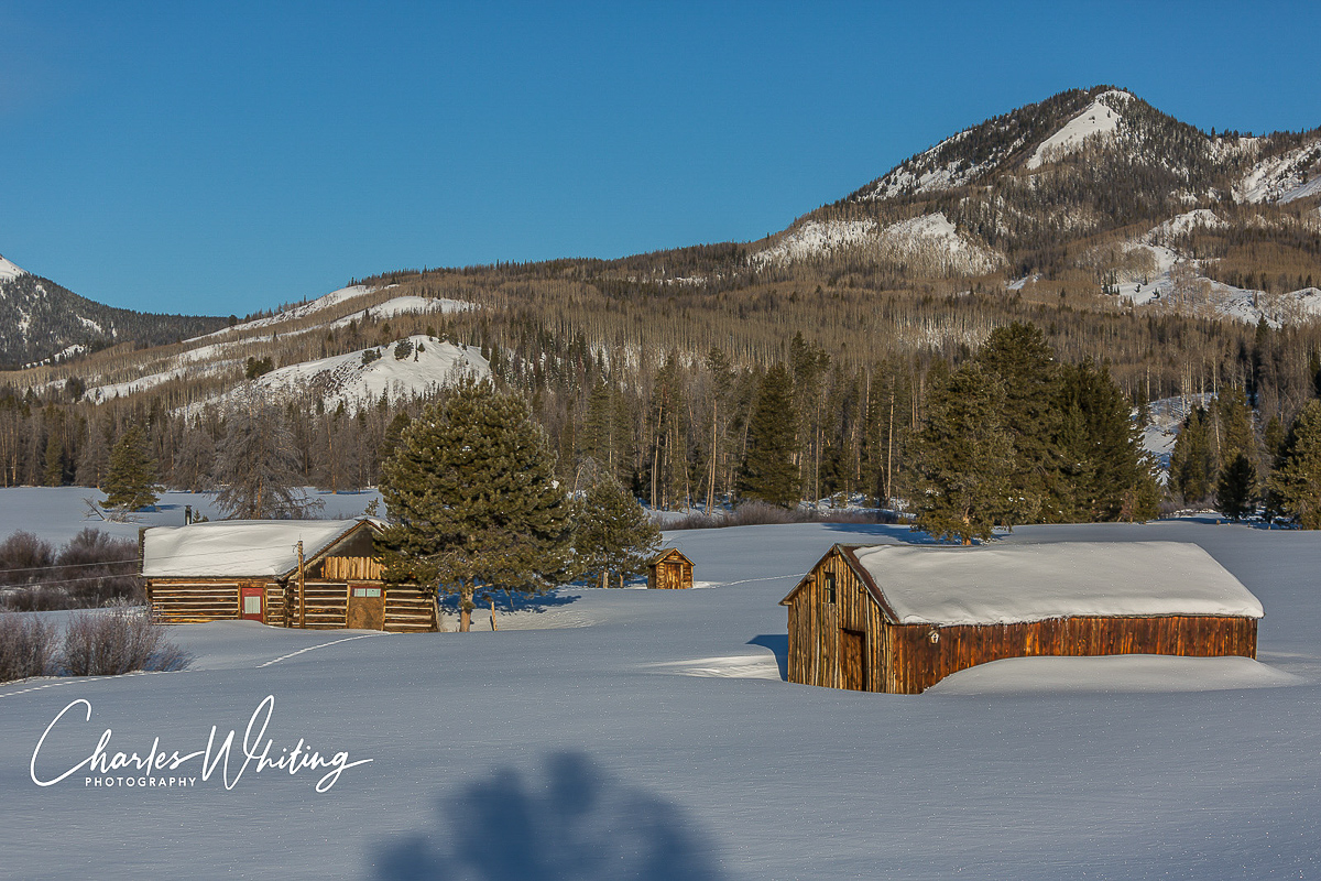 An old homestead covered in snow. Steamboat Springs, Colorado