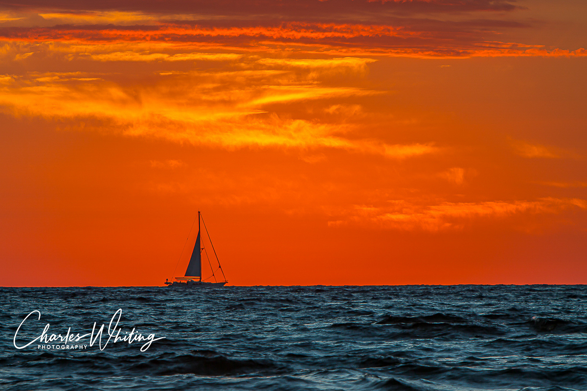 Sailboat, Sunrise, Deerfield Beach, Florida, photo